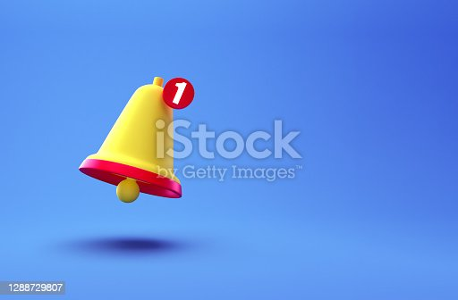 istock Notification bell creative concept. Cartoon Minimal Orange Ringing bell icon isolated on blue background. One new notification concept. Social Media element with copy space for text. 3d rendering 1288729807