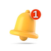 istock Notification bell icon isolated on white 1303181346