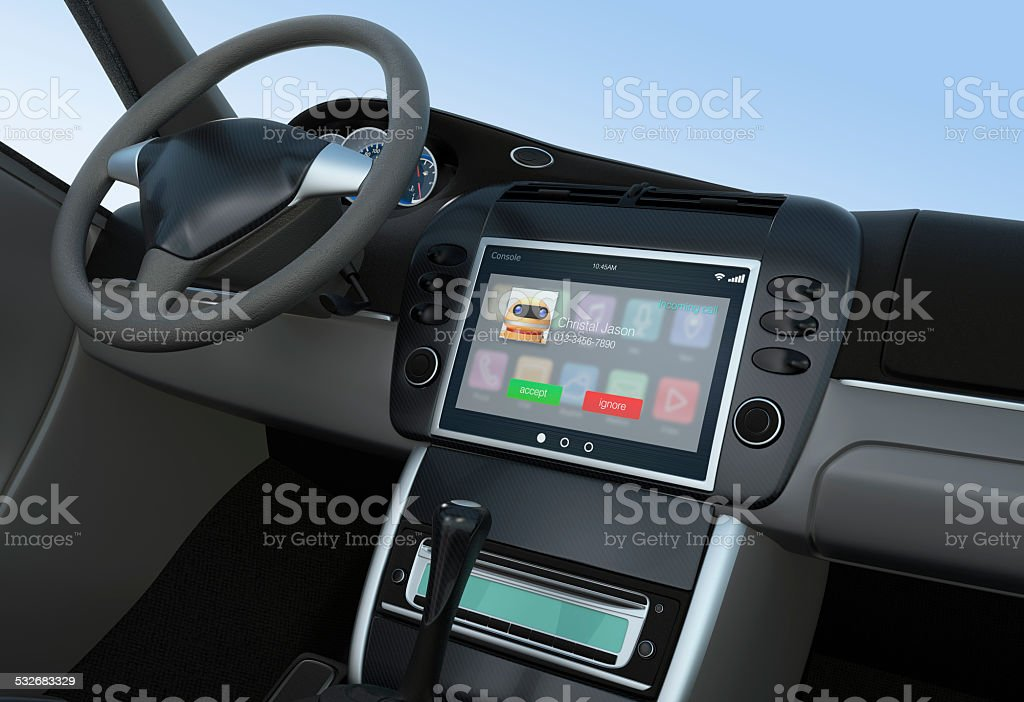 Notification of incoming call for smart car console stock photo