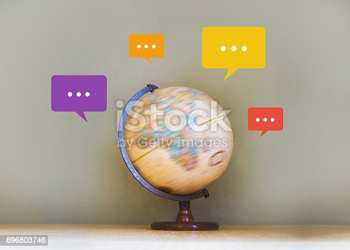 istock Notifications bubble in colorful around spinning globe model, social media and digital marketing concept 696803746