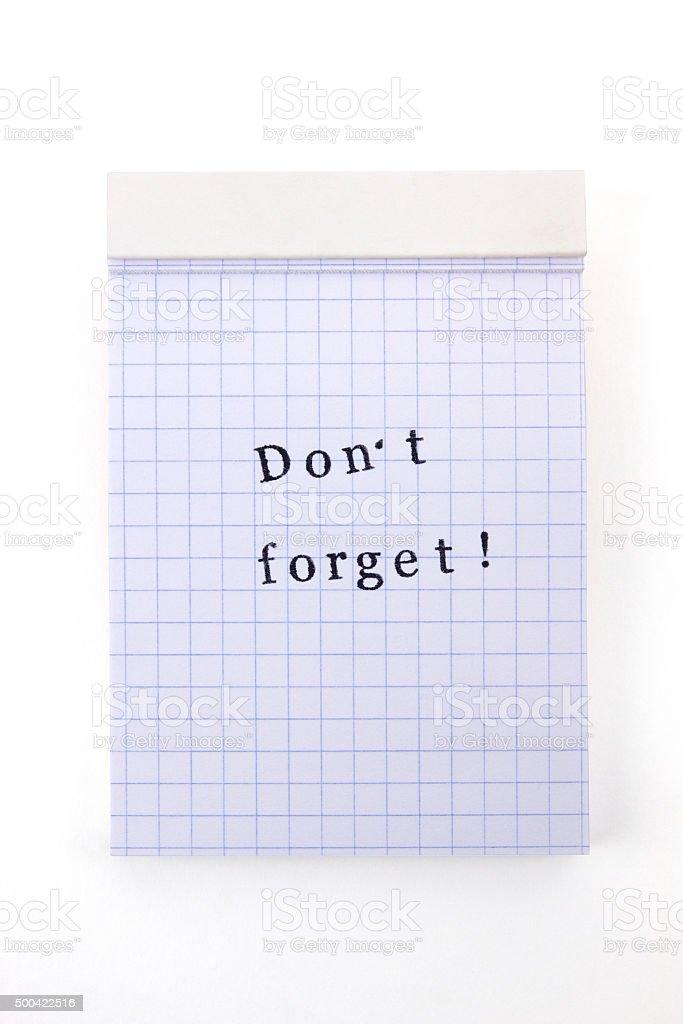 Notizblock nicht vergessen – Foto