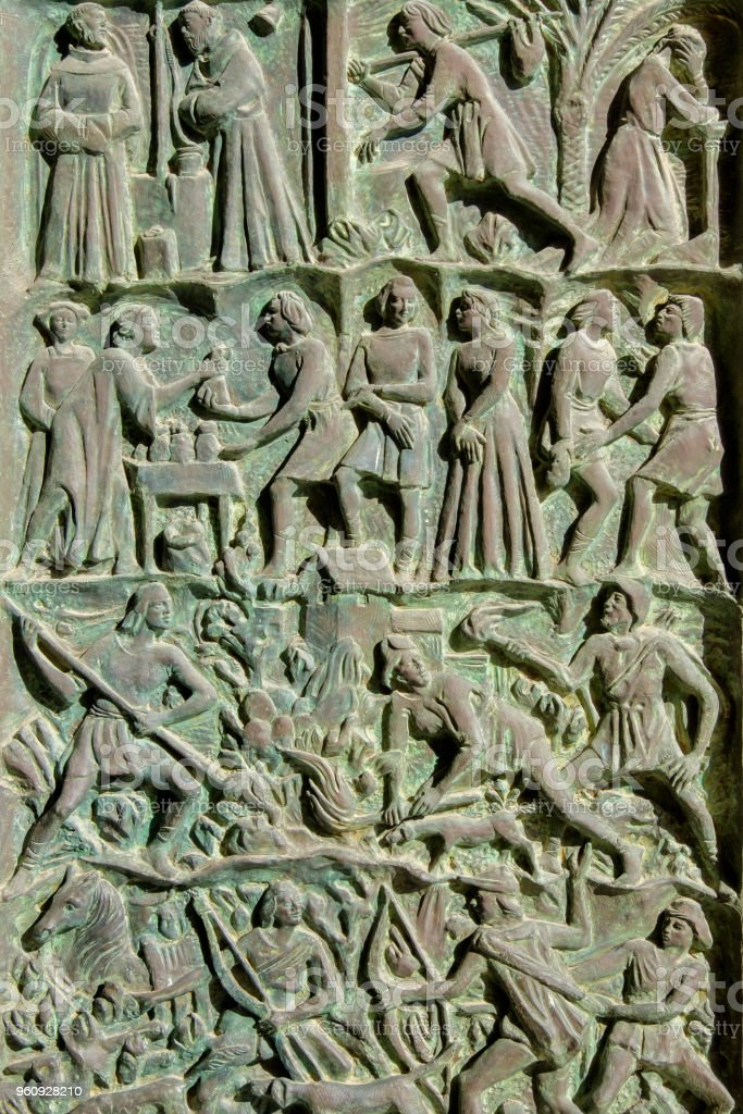 Noto, Kathedrale von San Nicolò, Bronze-Portal (Sizilien, Italien) - Lizenzfrei Altstadt Stock-Foto
