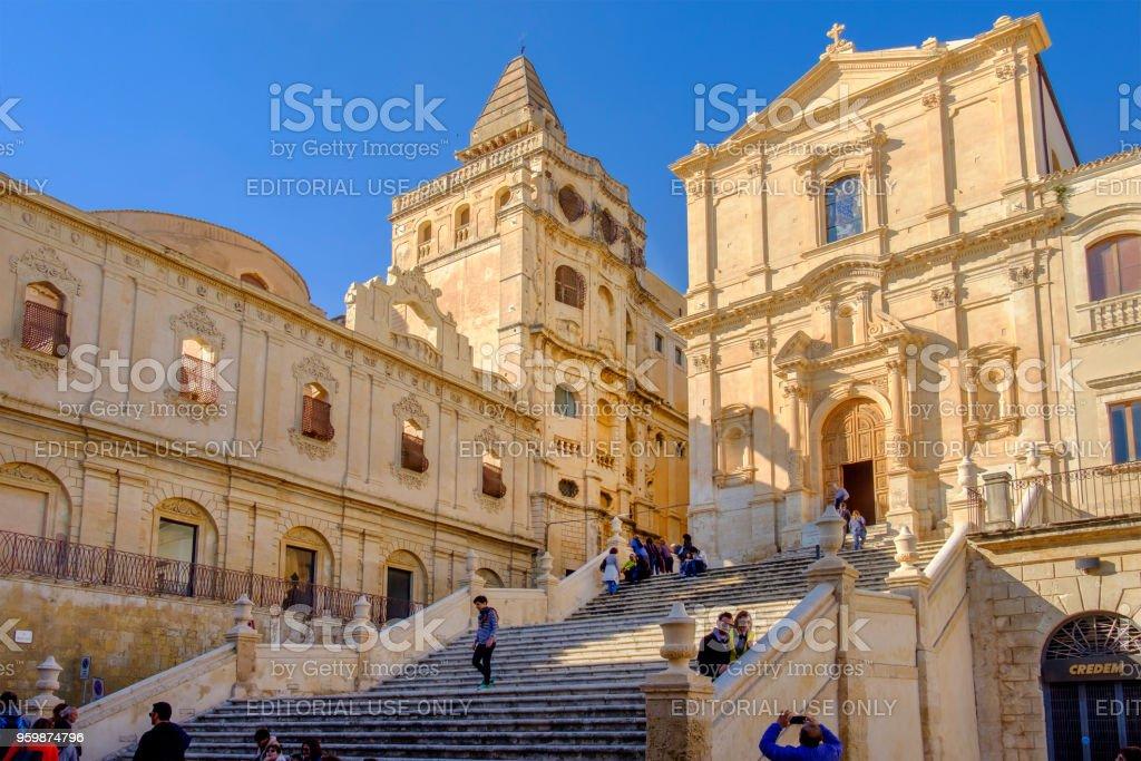 Noto, Church of San Francesco d'Assisi all'Immacolata (Sicily, Italy) stock photo