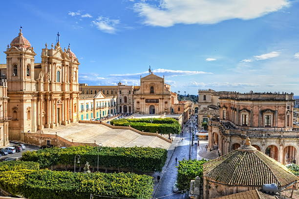Noto, Sicily View on the main square of the old city of Noto, Sicily sicily stock pictures, royalty-free photos & images