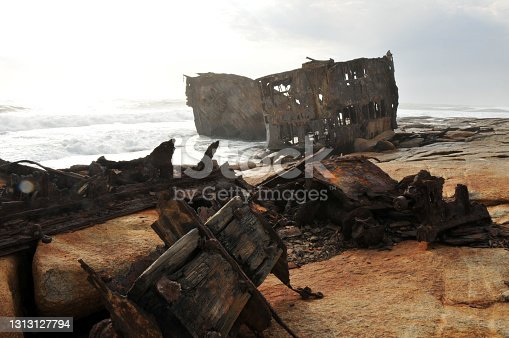 Notoriously bad weather caused the Piratiny to run aground on the rocky coast at Schulp Point, about 20 miles north of Hondeklipbaai