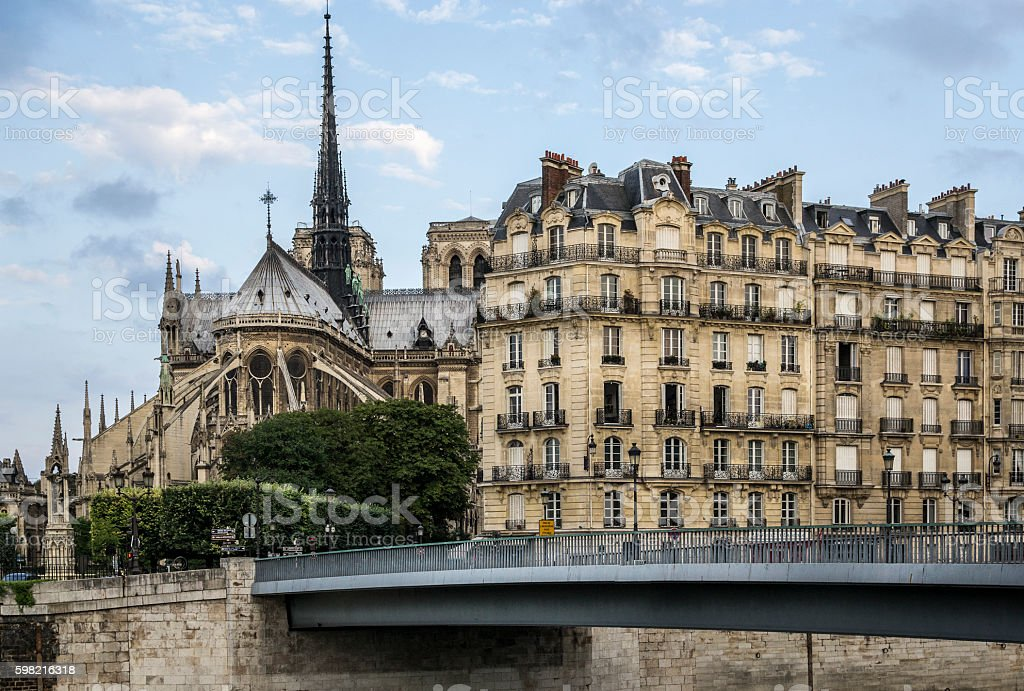 Notre Dame and classic Parisian buildings foto royalty-free