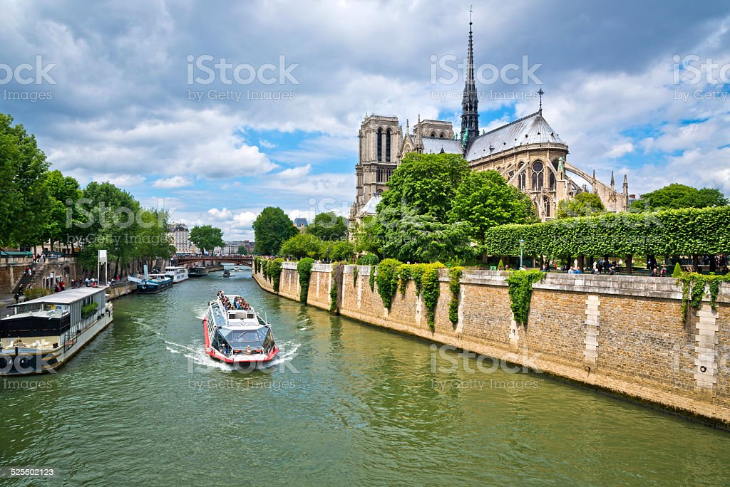 Notre Dame and Seine River in Paris stock photo