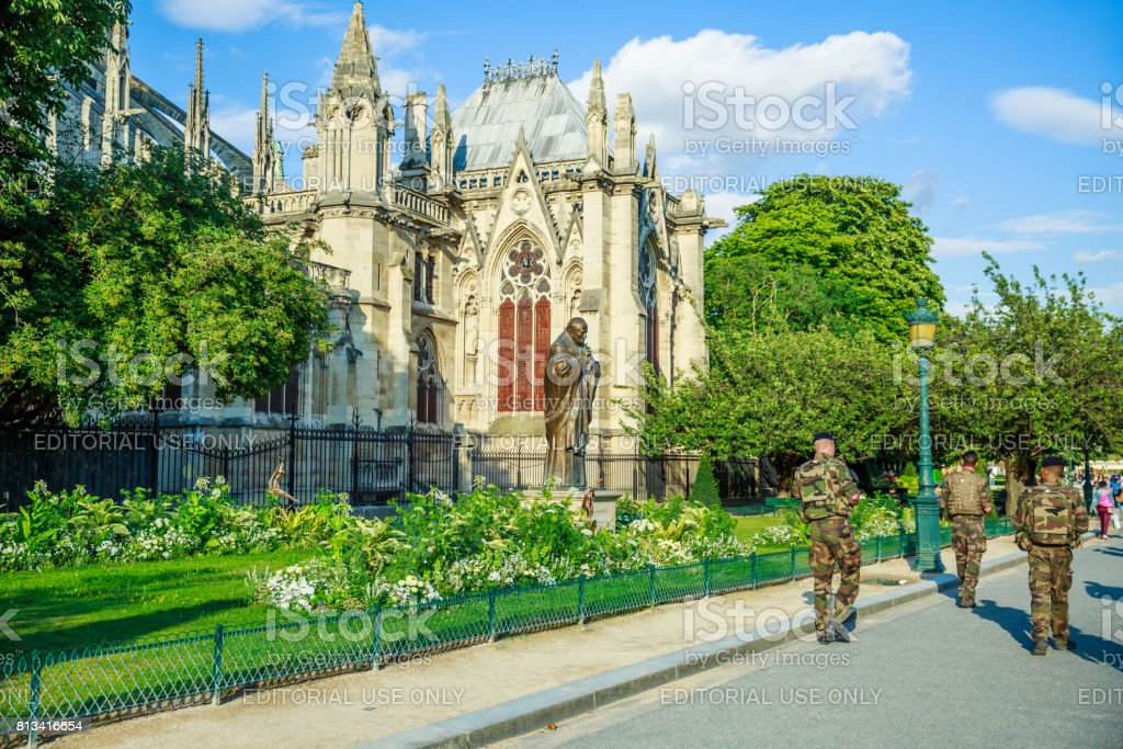 Notre Dame Armed Forces stock photo