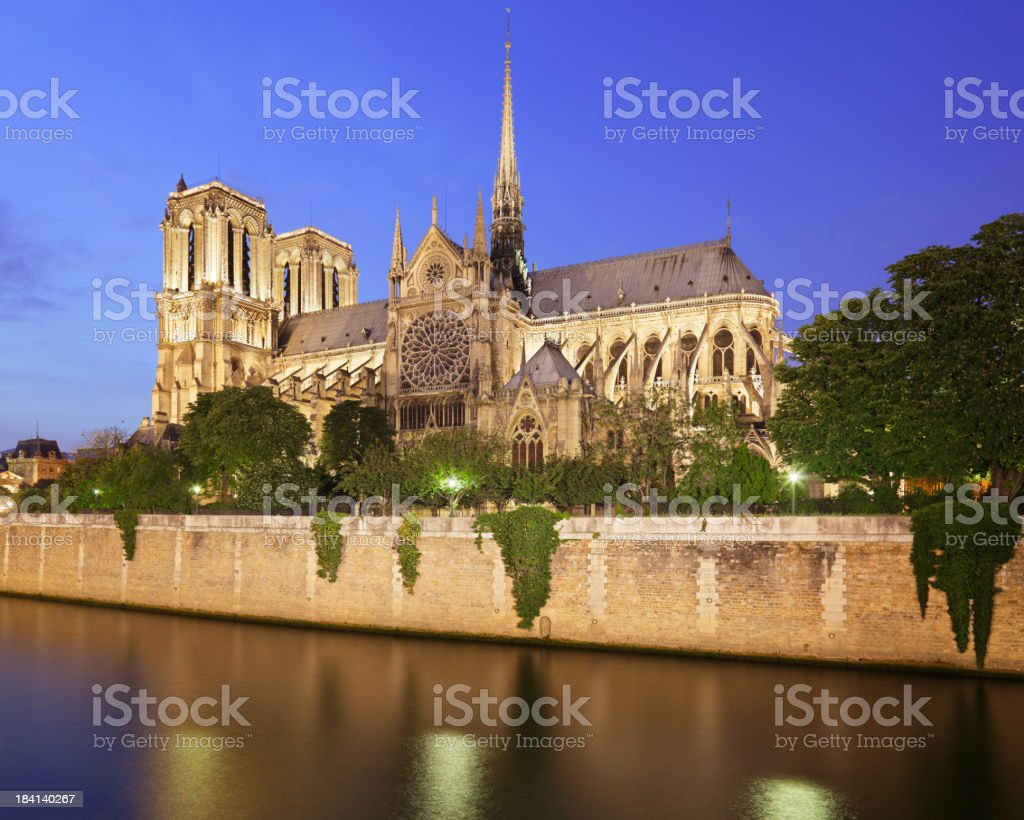 Notre Dame at Night royalty-free stock photo