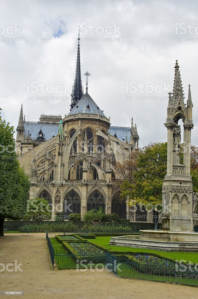 Notre Dame back view stock photo