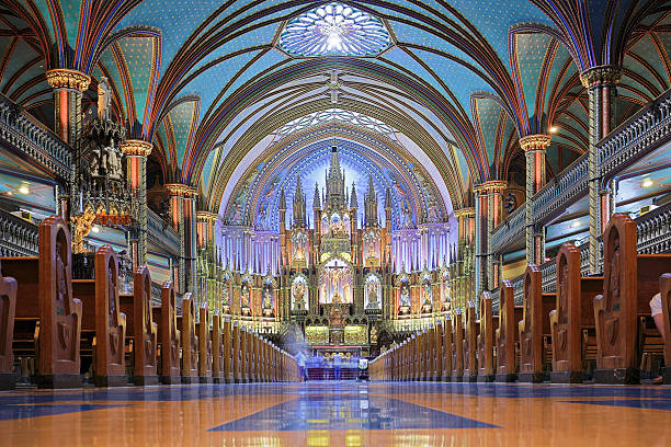 Notre Dame Basilica - Montreal Notre Dame Basilica (Montreal, Canada). basilica stock pictures, royalty-free photos & images