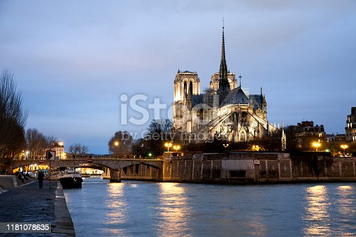 Notre Dame by night, before fire. Paris, France