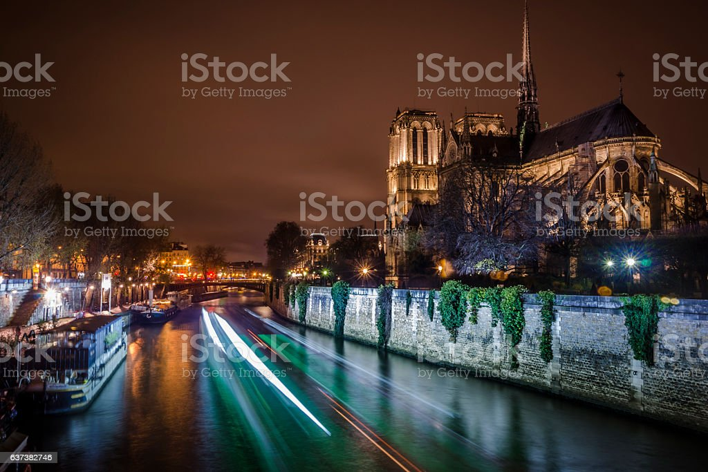 Notre Dame Cathedral and city lights stock photo