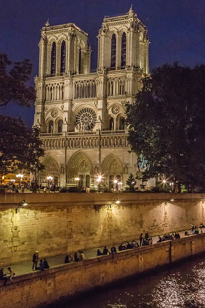 Notre Dame Cathedral at Night stock photo