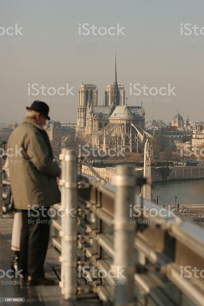 Notre Dame Cathedral from the roof the the Institut du Monde Ara stock photo