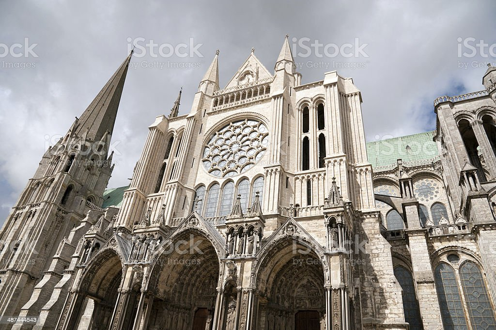 Notre Dame cathedral in Chartres stock photo