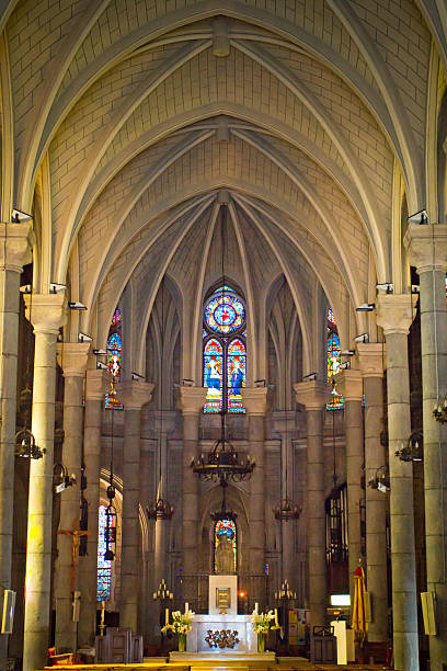 notre dame cathedral in nice - rose window stock pictures, royalty-free photos & images