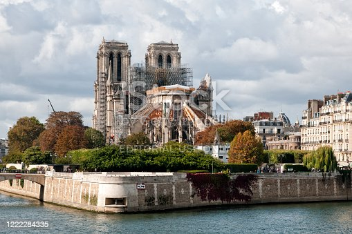 Facade of Notre Dame Cathedral in Paris after the fire destroyed the whole roof in 15 April 2019.  Paris in France, October 6, 2019