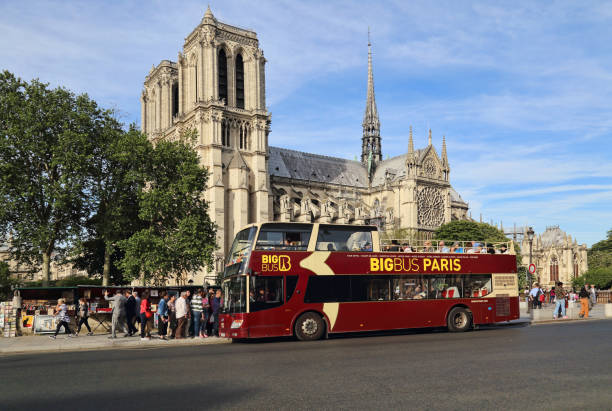 Notre Dame cathedral in Paris, France stock photo