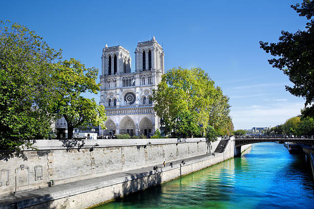 Notre Dame Cathedral in Paris France stock photo