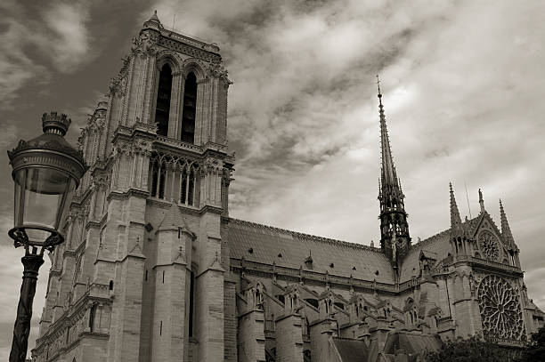 Notre Dame cathedral in Paris, France...toned. stock photo