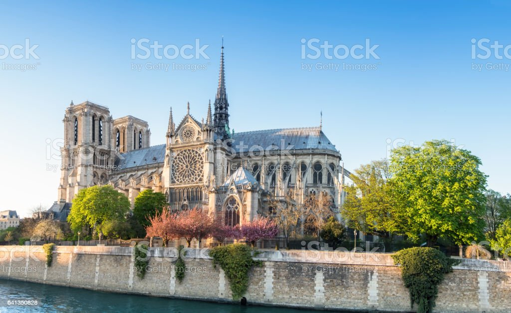 Notre Dame Cathedral in Paris on a bright afternoon in Spring stock photo