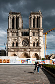 Notre Dame Cathedral in Paris, is empty, without tourists during pandemic Covid 19. Paris, Parvis Notre-Dame, in France. August 31, 2020