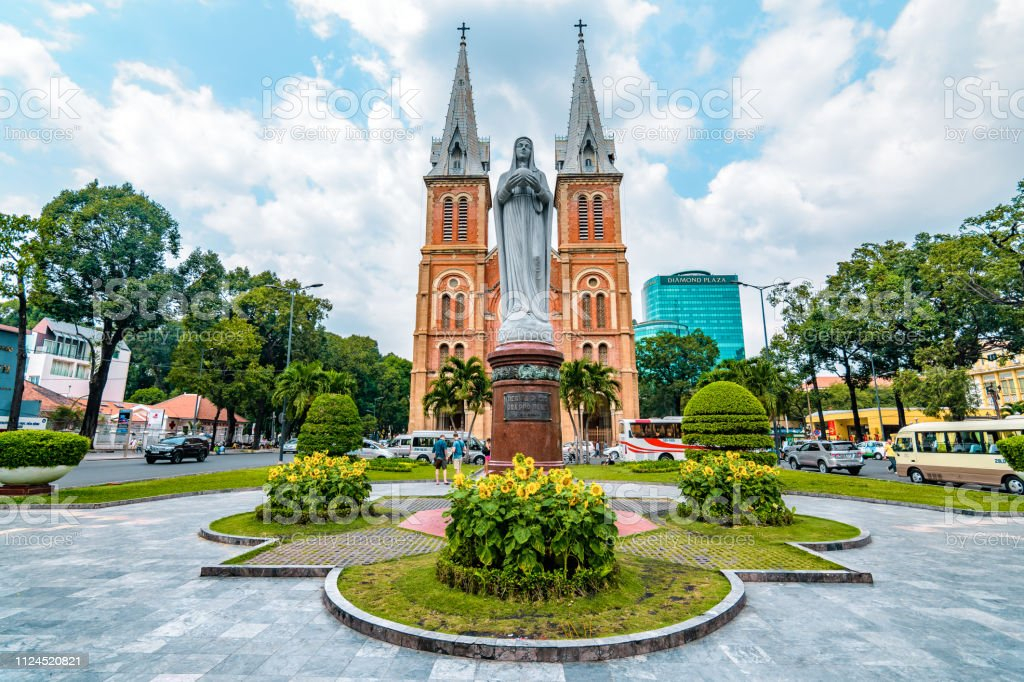 Notre Dame Cathedral in Vietnam Famous cathedral in Ho Chi Minh City. Asia Stock Photo