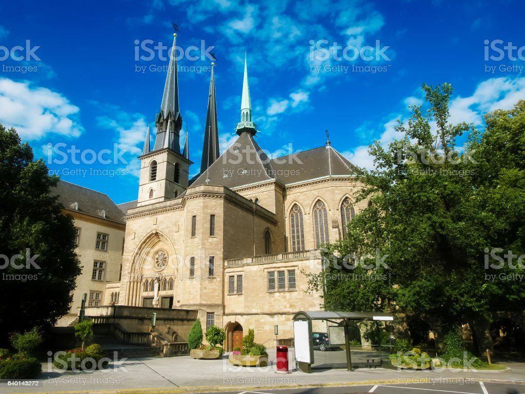 Notre Dame cathedral of Luxemburg stock photo