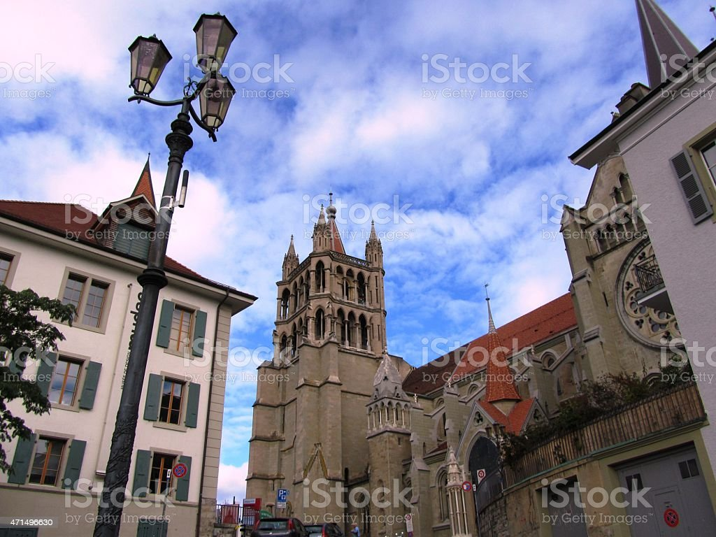 Notre Dame Cathedral  Old Town of Lausanne on Lake Geneva stock photo