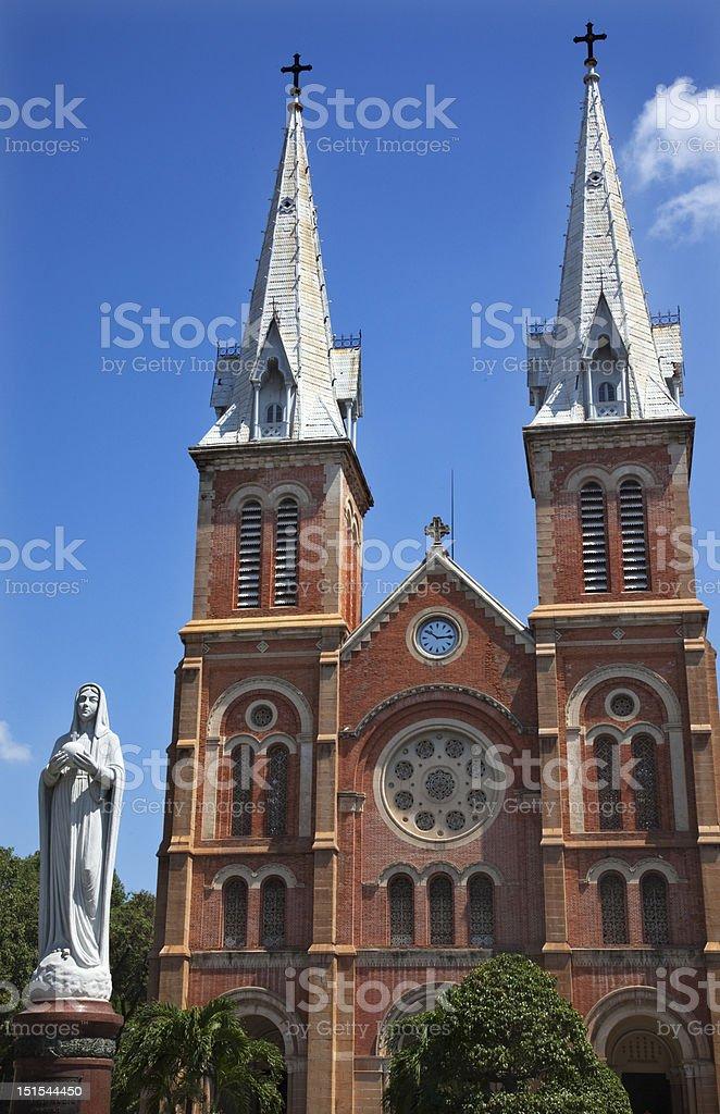 Notre Dame Catherdral Virgin Mary Statue Saigon Vietnam royalty-free stock photo