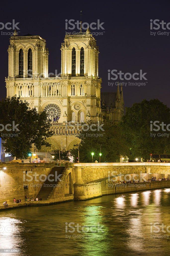 Notre Dame de Paris at a dark night royalty-free stock photo