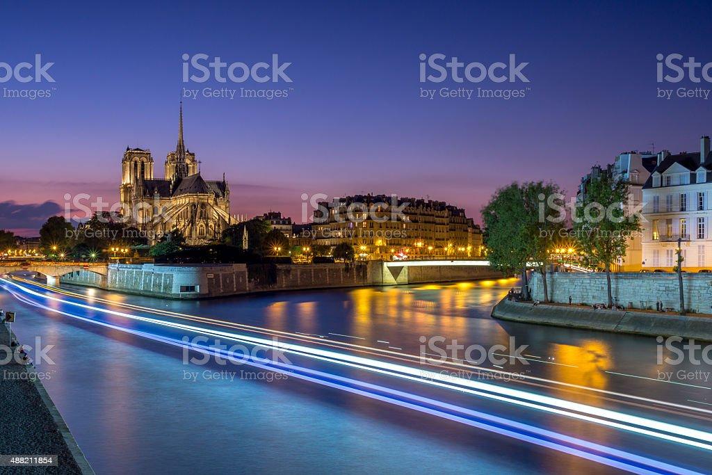 Notre Dame de Paris at twilight stock photo