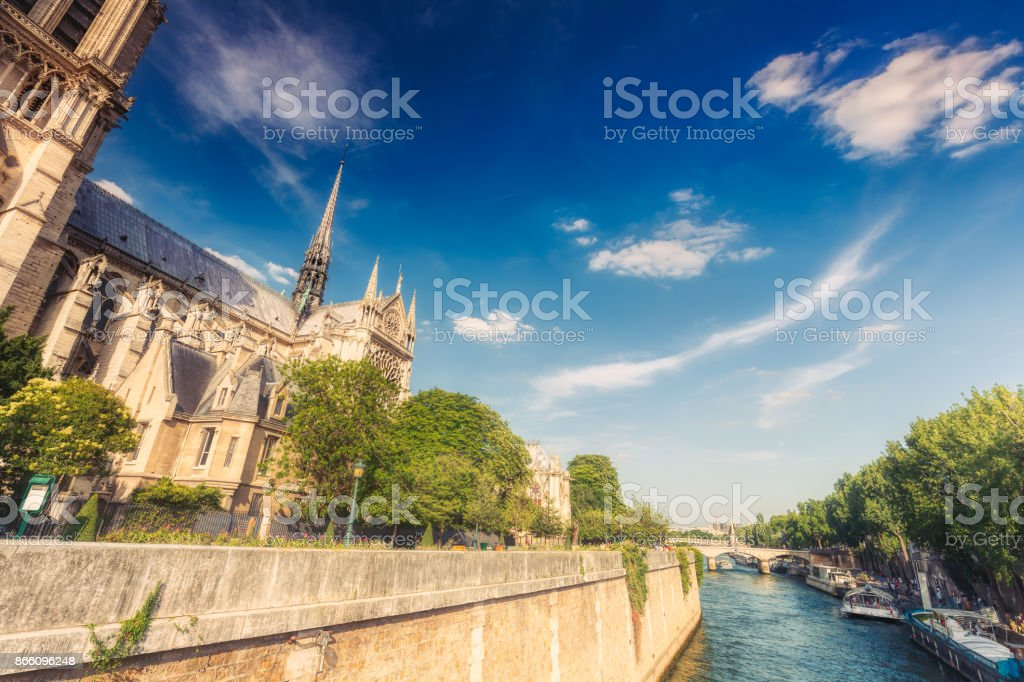 Notre Dame de Paris cathedral, France, at daytime. Summer travel background. stock photo