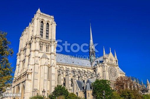 PARIS, FRANCE - APRIL 15, 2019: Notre Dame de Paris cathedral in France. Gothic architecture