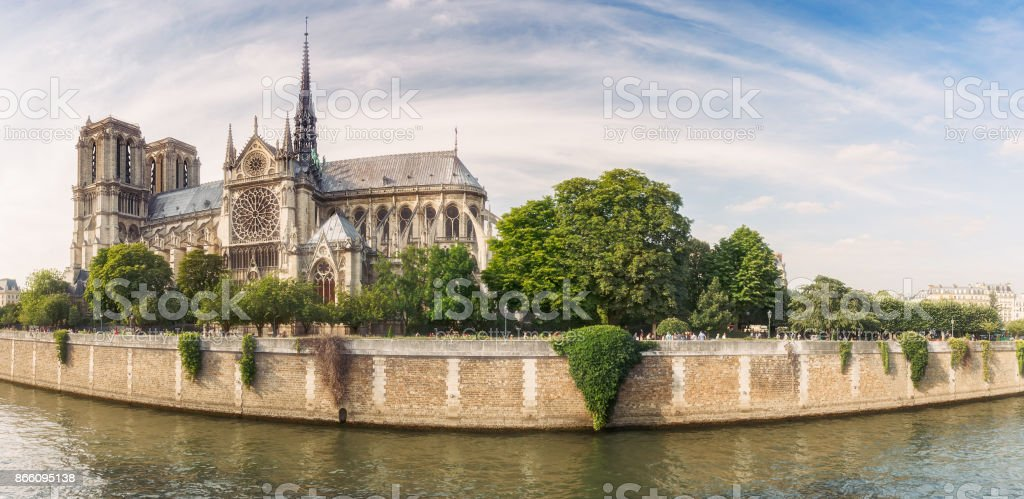Notre Dame de Paris, France, at daytime. Panorama view. stock photo