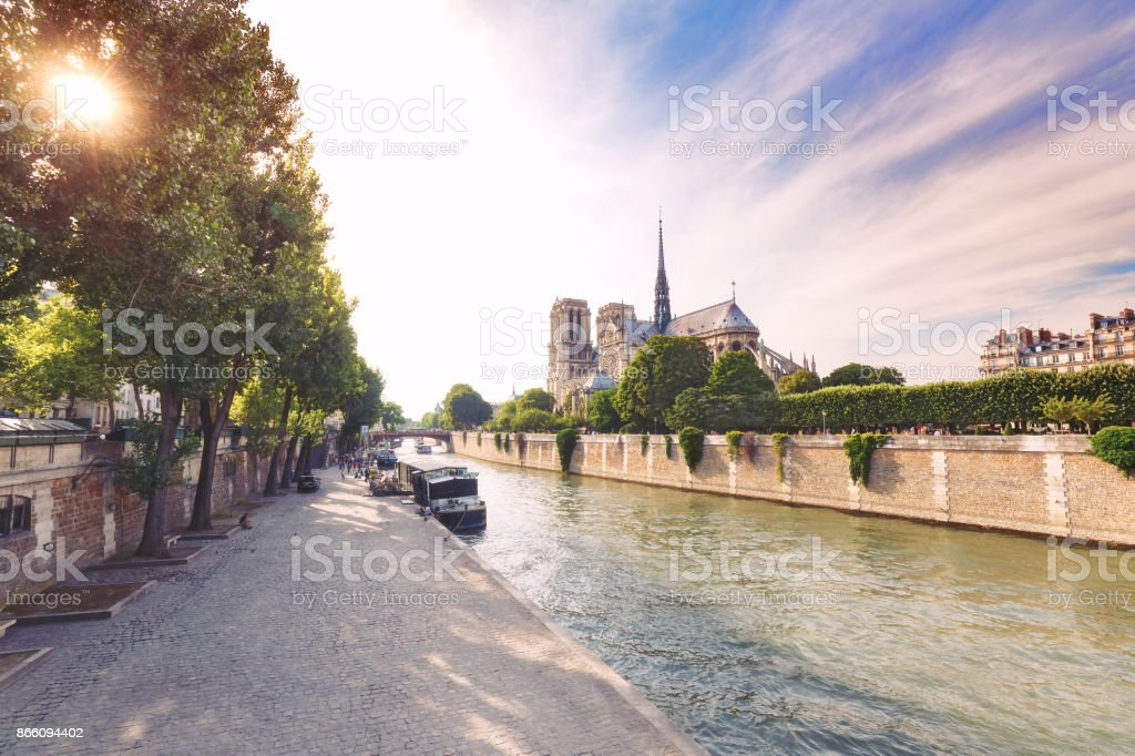 Notre Dame de Paris, France, at daytime. Summer travel background. stock photo
