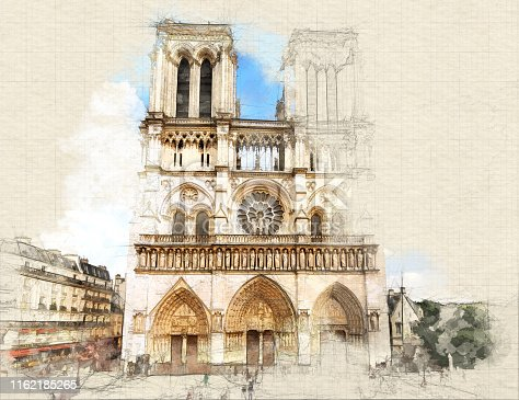 Sketch of main facade of Notre Dame de Paris