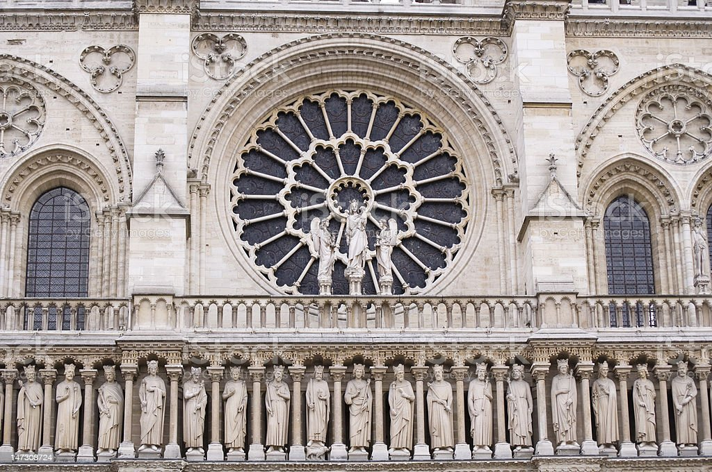 Notre Dame Facade detail royalty-free stock photo