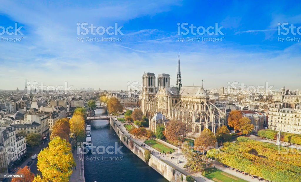 Notre Dame from above, Paris stock photo