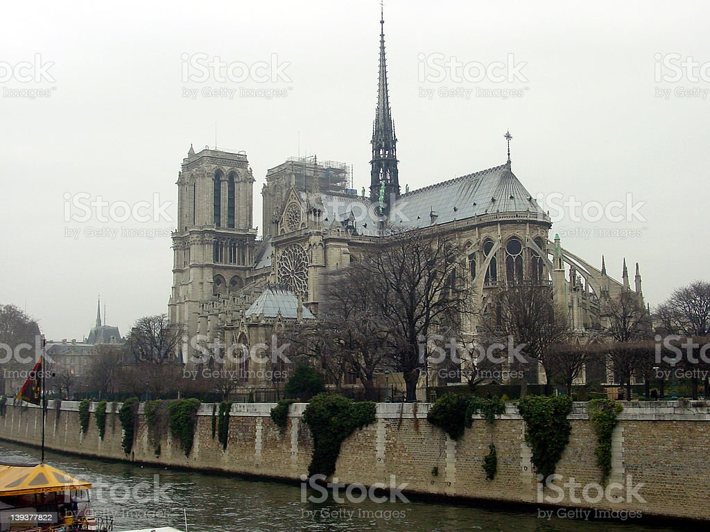 Notre Dame from the Seine River stock photo