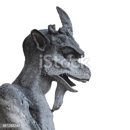 One of the famous gargoyles of Notre Dame, Paris, France. (clipping path)