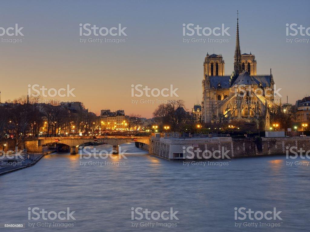 Notre Dame illuminated stock photo