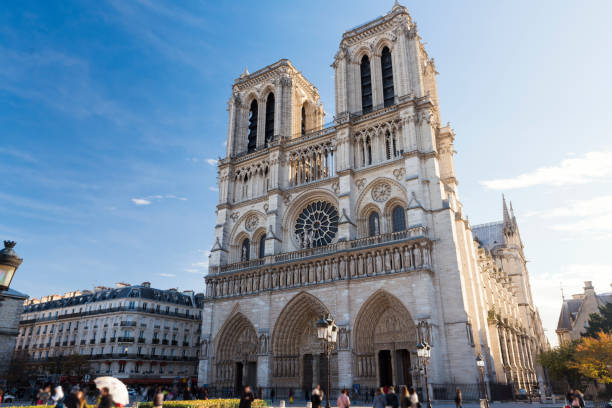Notre Dame in Paris, France stock photo