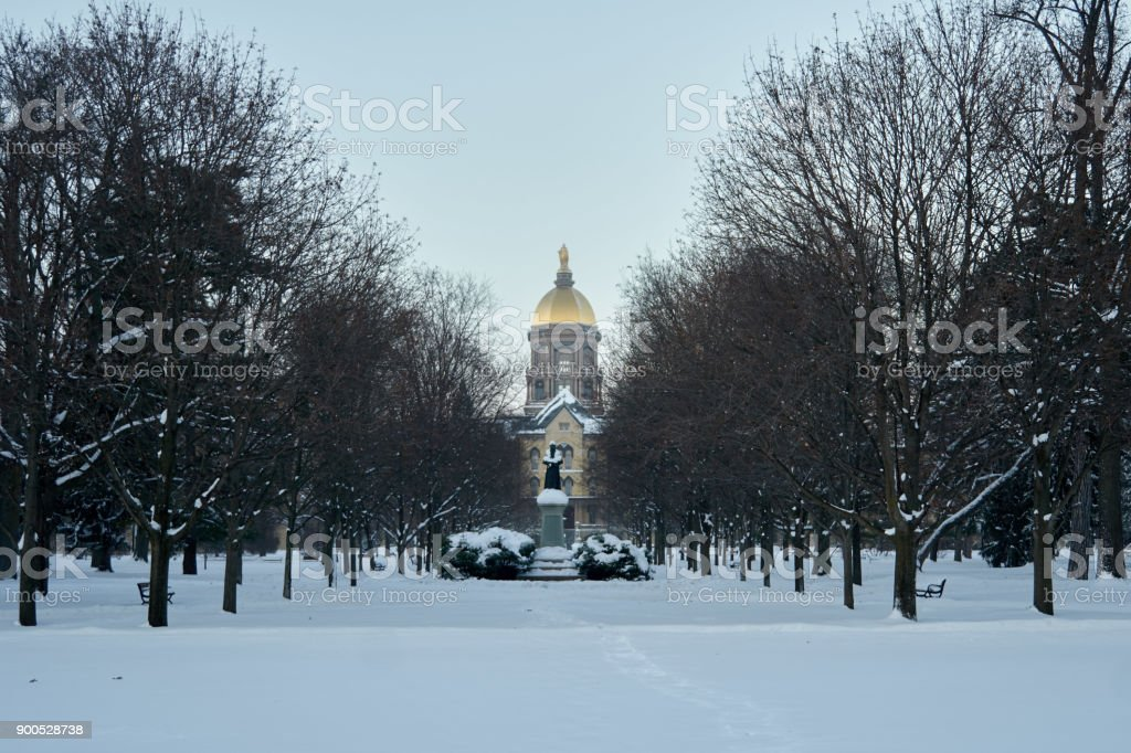 Notre Dame in Winter stock photo