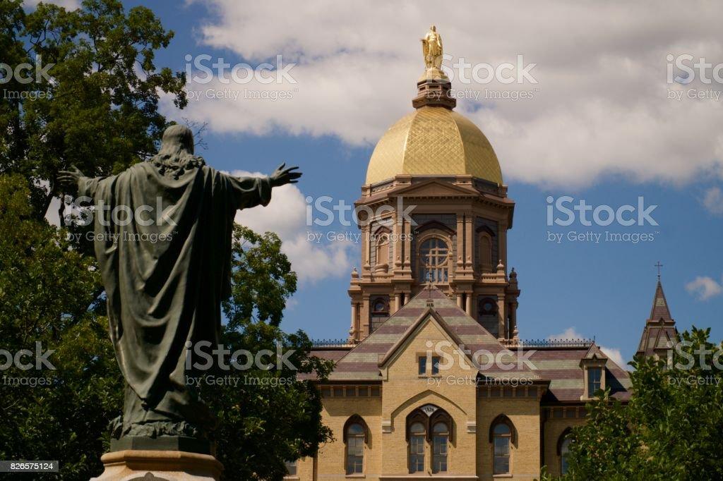 Notre Dame Main Building stock photo