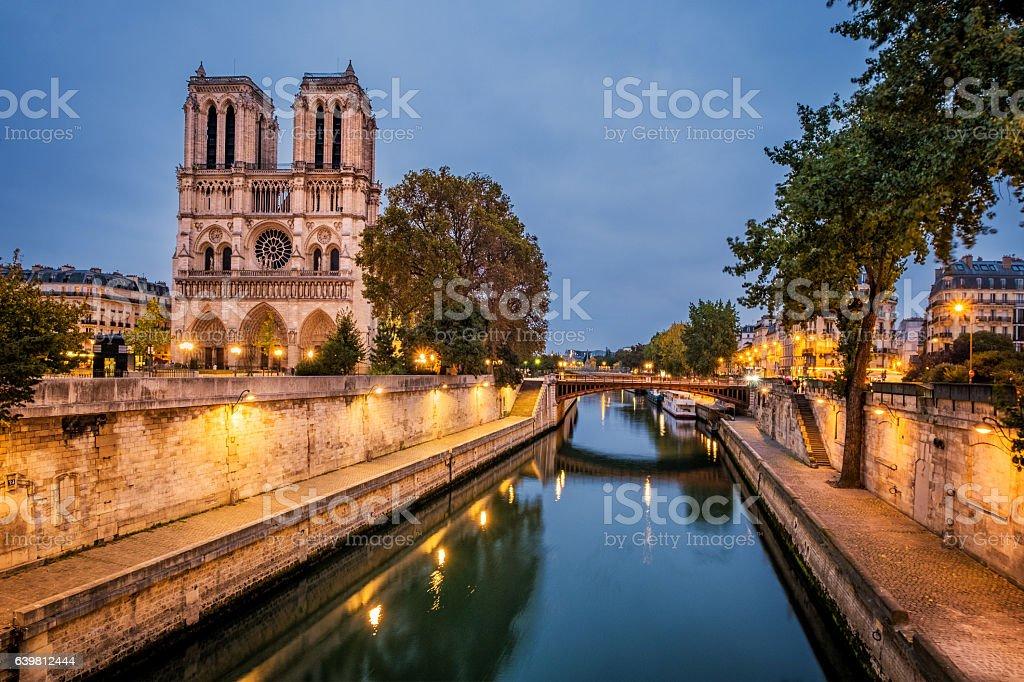 Notre Dame, Paris and River Seine stock photo