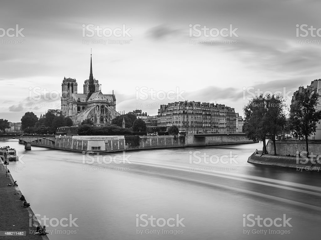 Notre Dame, Paris in Black and White stock photo