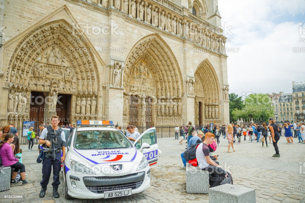Notre Dame Police stock photo