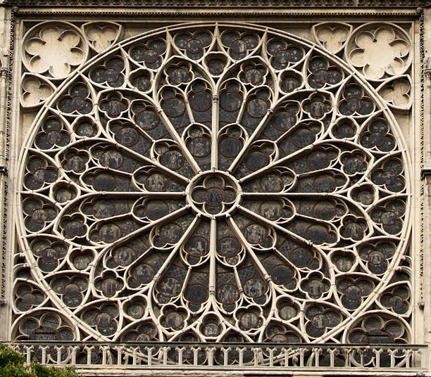 notre dame rose window in paris - rose window stock pictures, royalty-free photos & images